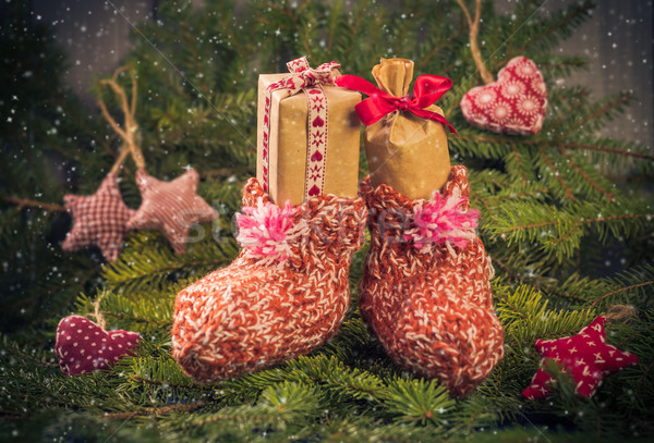 Christmas gifts handsewn socks decorations branches spruce Stock photo © fotoaloja