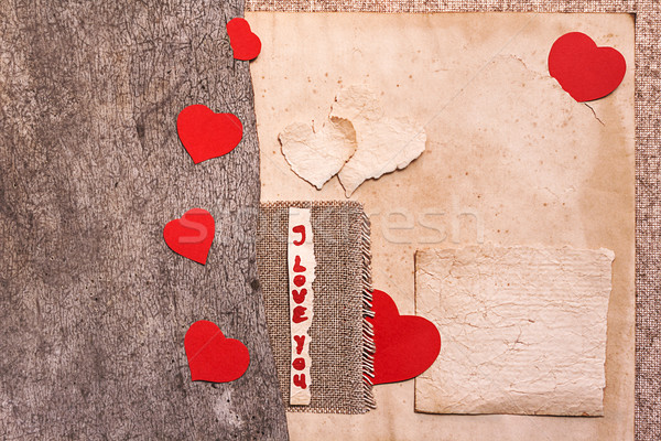 Art greeting card on vintage background with heart, old paper, f Stock photo © fotoaloja