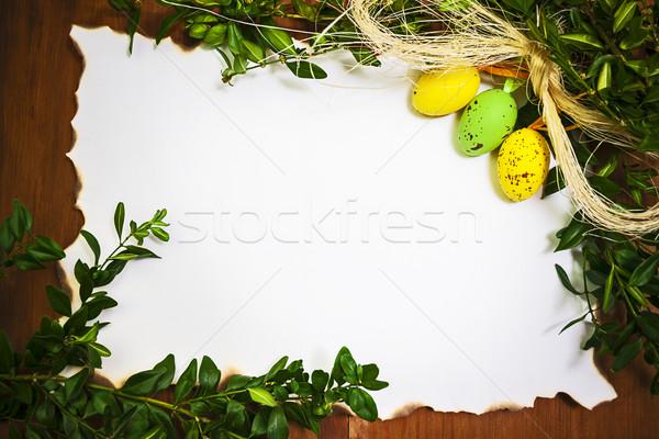 Easter background blank empty letter card eggs Stock photo © fotoaloja