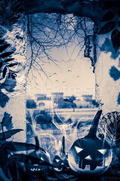 Halloween project pumpkins old ruins View window castle Stock photo © fotoaloja