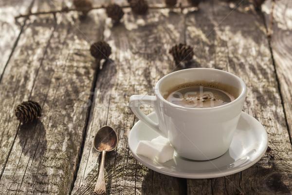 Kahve fincanı siyah kahverengi beyaz Stok fotoğraf © fotoaloja