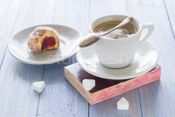 Coffee cup milk sweet dessert bitten donuts icing sugar Stock photo © fotoaloja