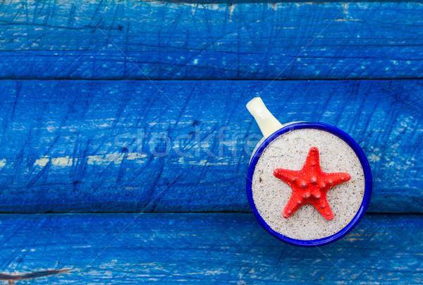 Scallop color cup blue table Stock photo © fotoaloja