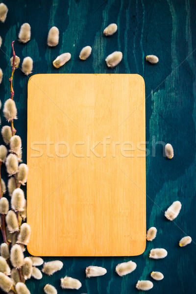 Easter willow catkins wooden board Stock photo © fotoaloja