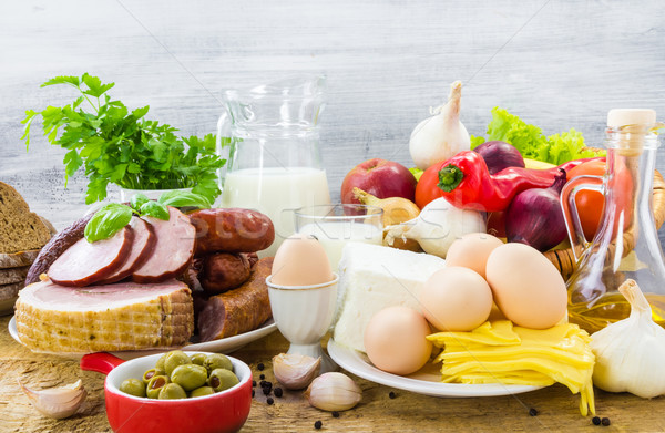 composition variety grocery products meat dairy Stock photo © fotoaloja