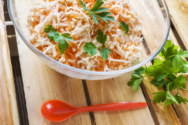 celery carrots food salad parsley vegetable wooden Stock photo © fotoaloja