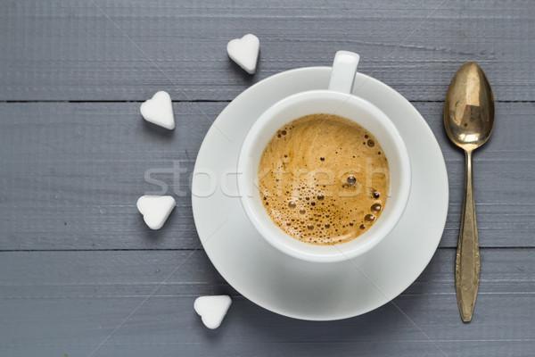 Valentine cup coffee boards sugar cubes heart Stock photo © fotoaloja