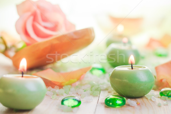 Duftenden Kerzen Salz Bad Entspannung Blume Stock foto © fotoaloja
