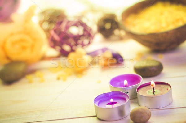 スパ 木製のテーブル 花 自然 健康 ストックフォト © fotoaloja