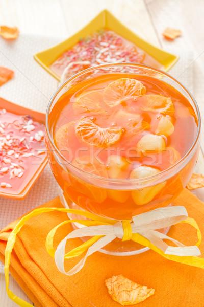 Savoureux fruits gelée tranches orange verre Photo stock © fotoaloja