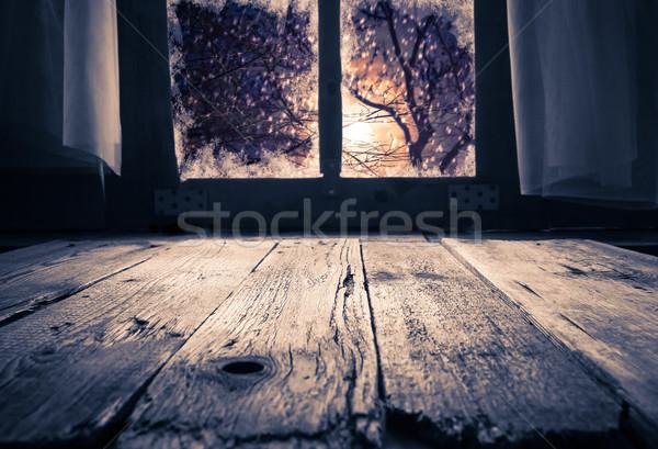 Old rural interior window table overlooking winter evening Stock photo © fotoaloja