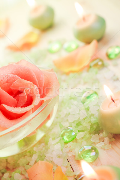 Spa components rose flower bath salt aromatic candles Stock photo © fotoaloja