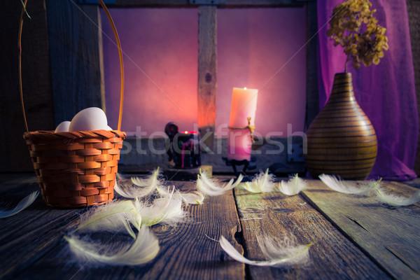 Vintage Easter basket eggs feathers Stock photo © fotoaloja