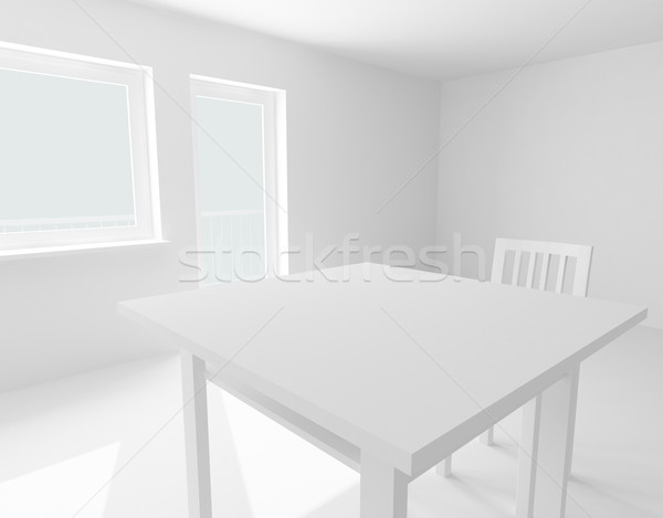 table and chair in white room Stock photo © fotoaloja
