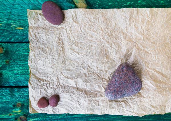 old crumpled paper stones wood Stock photo © fotoaloja