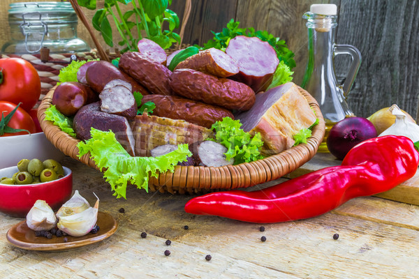 ストックフォト: ソーセージ · 木材 · 自然 · 健康 · 肉
