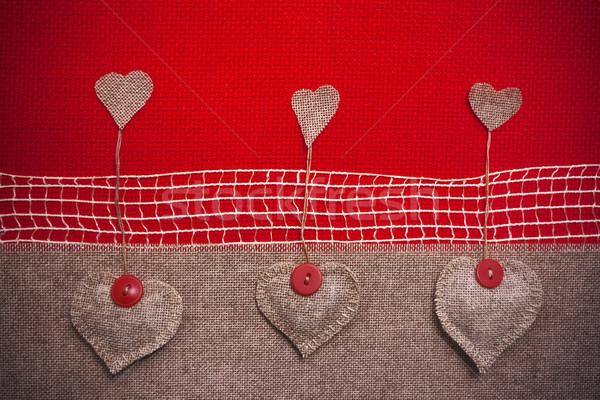 Kunst retro weefsel harten ontwerp wenskaart Stockfoto © fotoaloja