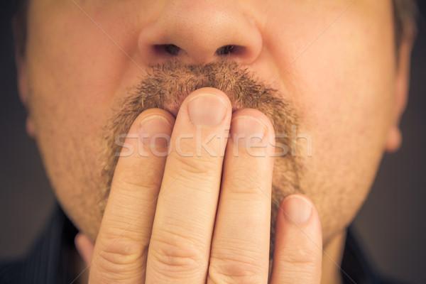 Hombre mano riendo silencio no Foto stock © fotoaloja
