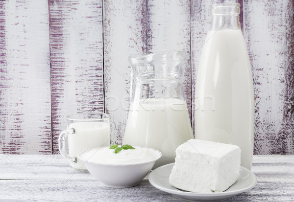 Tej krém sajt tejföl étel ital Stock fotó © fotoaloja