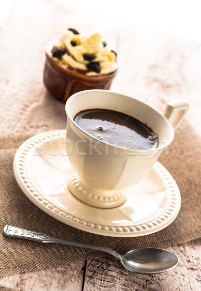 coffee cup black dessert creamy sweet wooden board Stock photo © fotoaloja