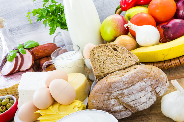 Miscellaneous food dairy products  bread meat Stock photo © fotoaloja