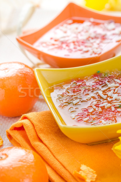 Tasty fruit jelly topped coconut shreds Stock photo © fotoaloja