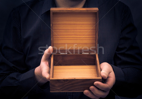 empty casket hands man Stock photo © fotoaloja