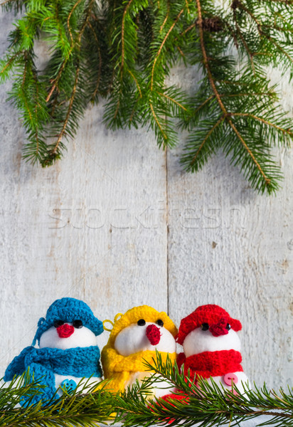 snowmen board wooden Christmas winter plush trio Stock photo © fotoaloja