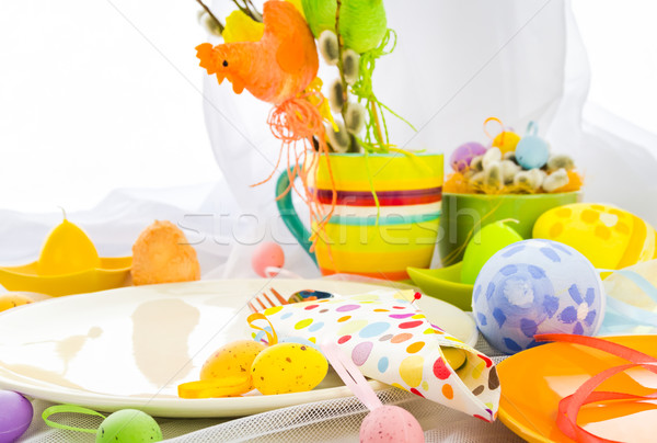 Easter composition table tableware person Stock photo © fotoaloja