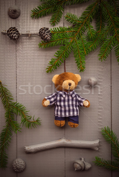 Christmas setting composition gifts forest teddy bear Stock photo © fotoaloja