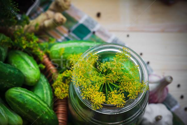 top view closeup jar pickles other ingredients pickling Stock photo © fotoaloja