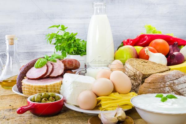 продуктовых продукции молочная овощей плодов мяса Сток-фото © fotoaloja