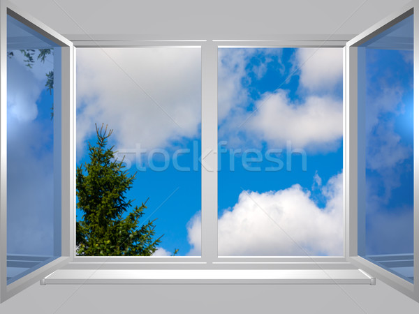 view from the window of blu sky and tree Stock photo © fotoaloja