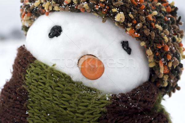 Stockfoto: Sneeuwpop · afbeelding · creatieve · gezicht · man · sneeuw