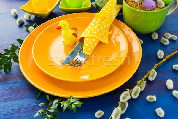 Wielkanoc tabeli żółty kaczka restauracji obiedzie Zdjęcia stock © fotoaloja