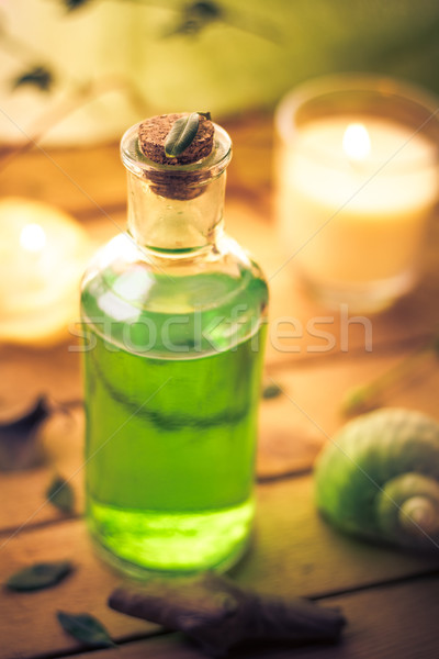 Primer plano aromático aceite de masaje elemento bienestar salud Foto stock © fotoaloja