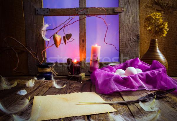 Bağbozumu Paskalya boş kart doğa Stok fotoğraf © fotoaloja