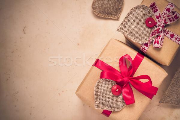 San valentino regali cuori vecchia carta carta Foto d'archivio © fotoaloja