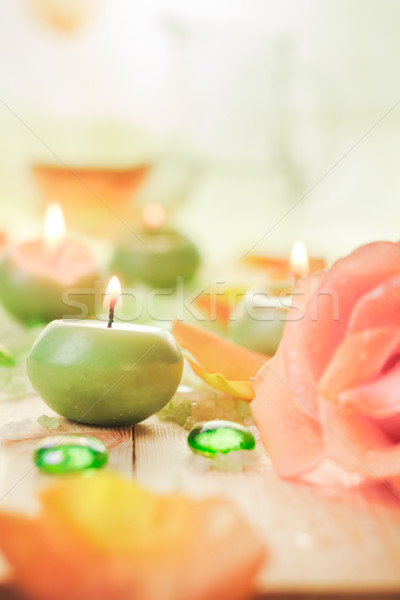 Scented candles salt bath attributes relaxation Stock photo © fotoaloja