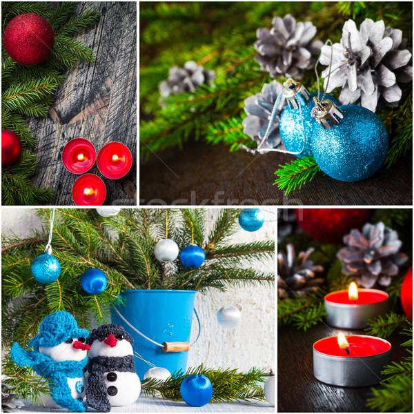 Christmas collage glass ball snowman candle lights Stock photo © fotoaloja