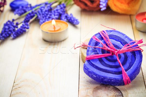 Spa kokulu mumlar çiçek sağlık Stok fotoğraf © fotoaloja