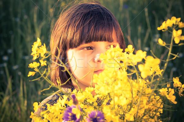 Beauty little girl rape field bouquet hand Stock photo © fotoaloja