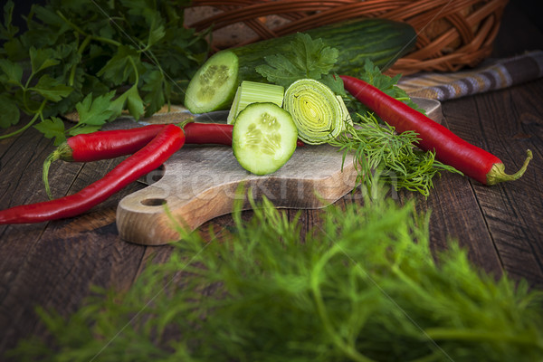 Art vegetable early board table wooden parsley dill pepper cucum Stock photo © fotoaloja