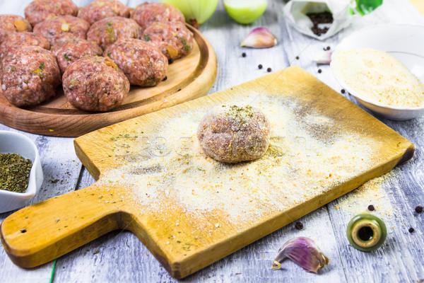 process rolling raw meatballs breadcrumbs Stock photo © fotoaloja