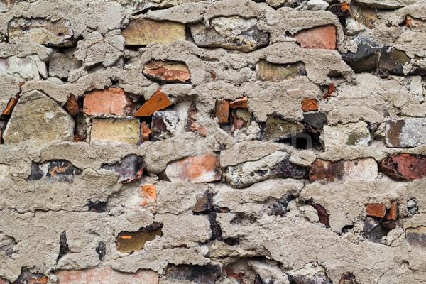 старые защита стены красный кирпича серый Сток-фото © fotoaloja