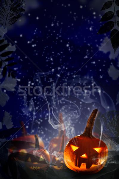 Halloween projekt tökök éjszaka csillagos ég terv Stock fotó © fotoaloja