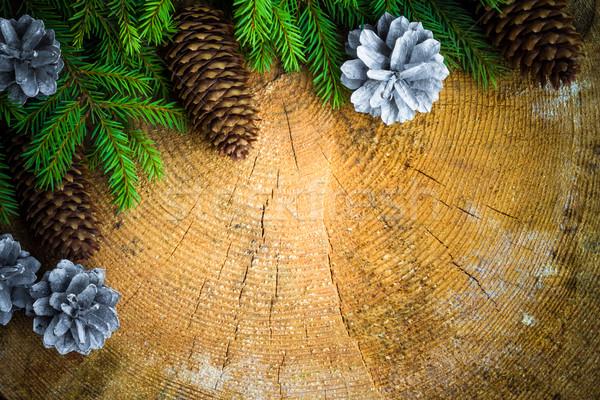 Albero di natale abete rosso pino legno Natale sfondo Foto d'archivio © fotoaloja