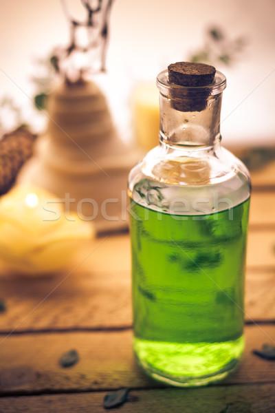 Közelkép aromás masszázsolaj alkotóelem wellness egészség Stock fotó © fotoaloja