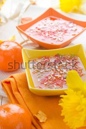 ízletes gyümölcs zselé szeletek narancs üveg Stock fotó © fotoaloja