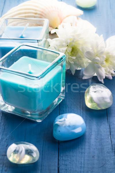 Zen piedras aromático velas flor Foto stock © fotoaloja